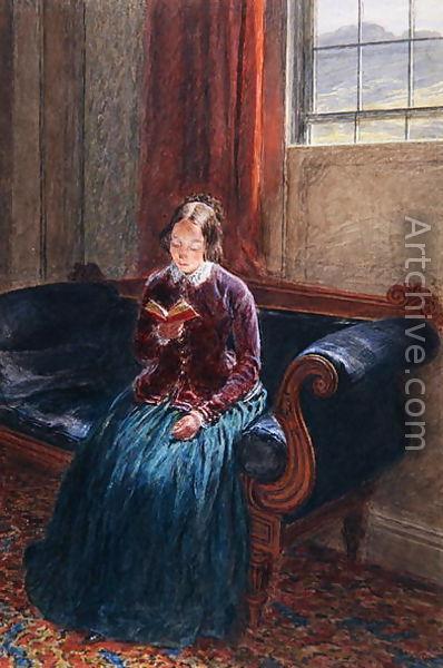 ON peu imaginer ici Emily lisant sur le canapé de la salle à manger du presbytère de Haworth © William Henry Hunt