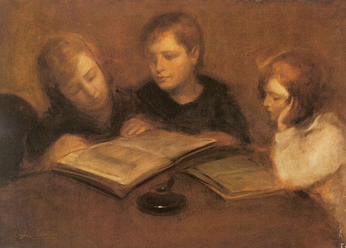 Pendant l'enfance, réunis autour de la table de la salle à manger, les enfants Brontë passent des soirées entières à lire et à inventer des mondes imaginaires(1849-1906) - www.eugenecarriere.com