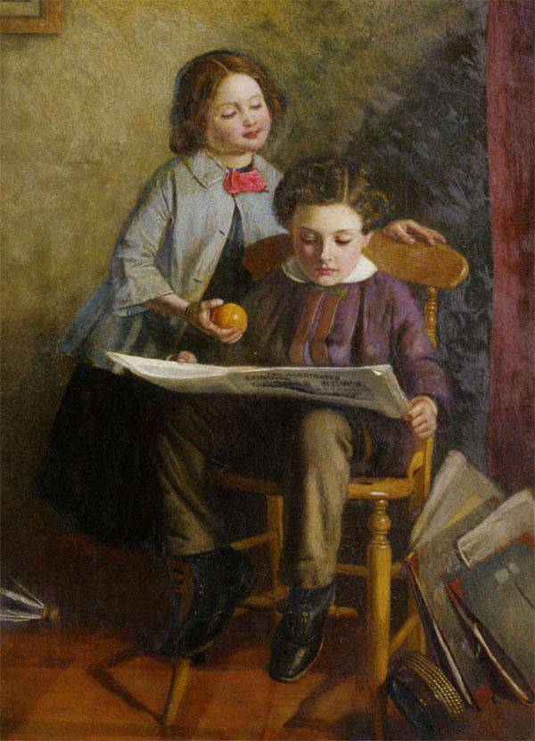 Les deux aînés des Brontë, CHarlotte et Branwell, étaient particulièrement complice dans la saga du monde d'Angria. Tous les enfants Brontë se passionaient par ailleurs pour la lecture de journeaux, plus particulièrement pour le journal écossais «Blackwood's Magazine» © John Dawson Watson (1832-1892)