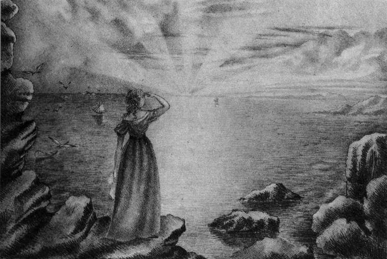 Anne Brontë,1839, Femme regardant un coucher de soleil sur la mer