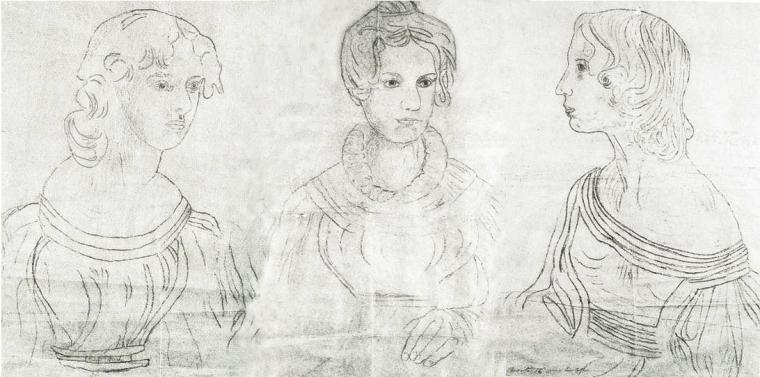 Reconstitution du portrait de groupe dit «au fusil» peint par Branwell Brontë (c.1833). Contours d'après le tableau original.