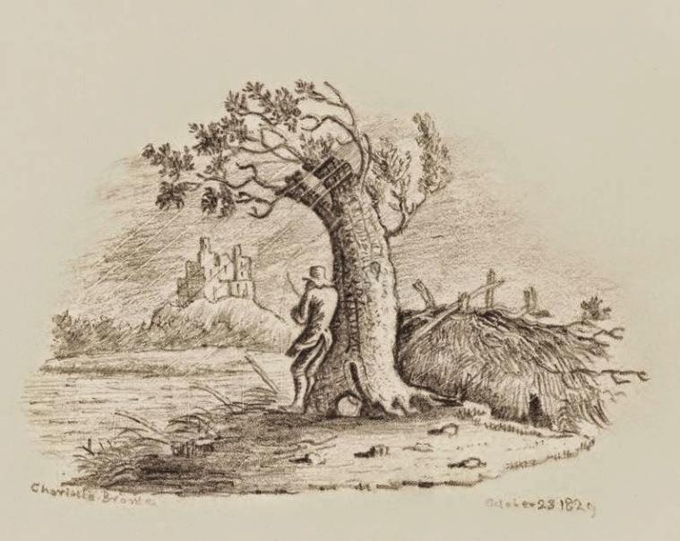 Charlotte Brontë, 23 octobre 1829, copie d'après une illustration du livre «History of British Birds» (Sothebys 9 décembre 2014)