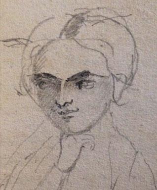 Autoportrait par Charlotte Brontë, 1843, réalisé dans l'un de ses livres scolaires. Pierpont Morgan Library, New York.