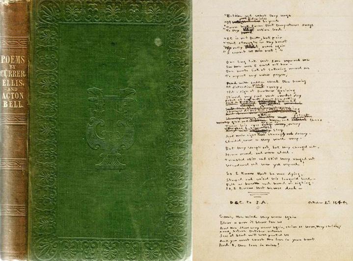 Première édition des poèmes des sœurs Brontë / Manuscrit des poèmes d'Emily © British Library Board