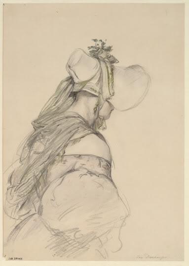 Mystérieuse Emily, forte en enjouée avec ses proches, très timide avec les étranger. Elle a longtemps préféré les robes à manches gigots, comme sur ce dessin, même logtemps après que la mode fut passé. © Josef Danhauser, c.1830