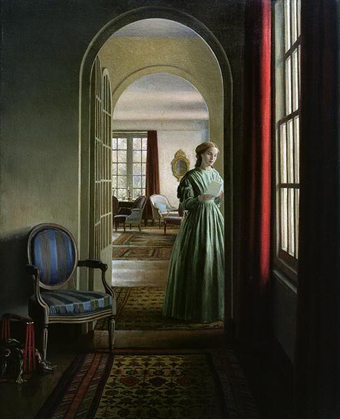 J'imagine bien ici Anne Brontë lisant une lettre reçue d'Haworth pendant qu'elle travaillait comme gouvernante chez Les Robinson en 1840. © Leonard Campbell Taylor