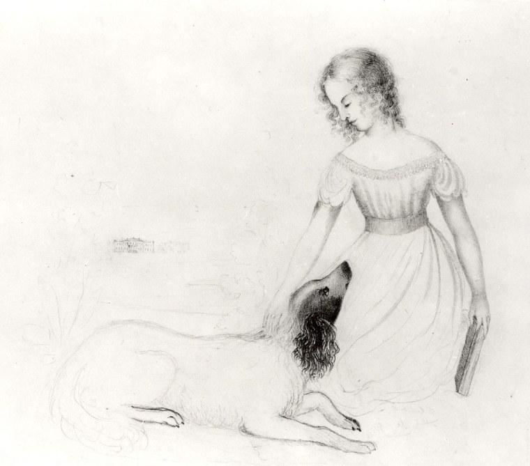 Portrait d'une jeune fille avec un chien par Anne Brontë, c.1843-45