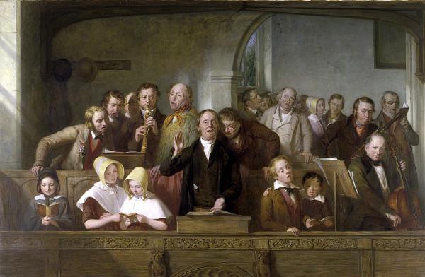 Les enfants Brontë, en tant qu'enfants de pasteur anglican, se devaient par ailleurs d'aller à l'église et de lire la Bible. © Thomas Webster (1800-1886)