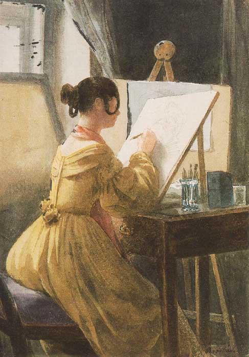 «La peintre» © Miklos Barabas, 1838. (Cliquez sur l'image pour l'agrandir)