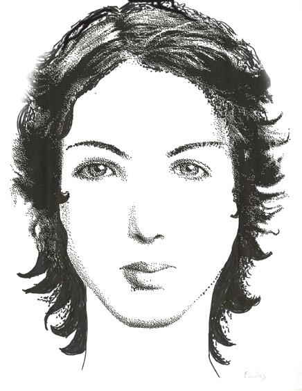 Portrait-robot d'Emily Brontë par Louise Sanfaçon. Ultimate Flash Face v0.42b. (Cliquez sur l'image pour l'agrandir).