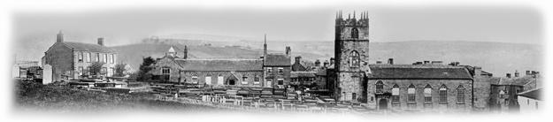 Collage de deux photos du XIXe siècle : le presbytère à gauche et l'église à droite.