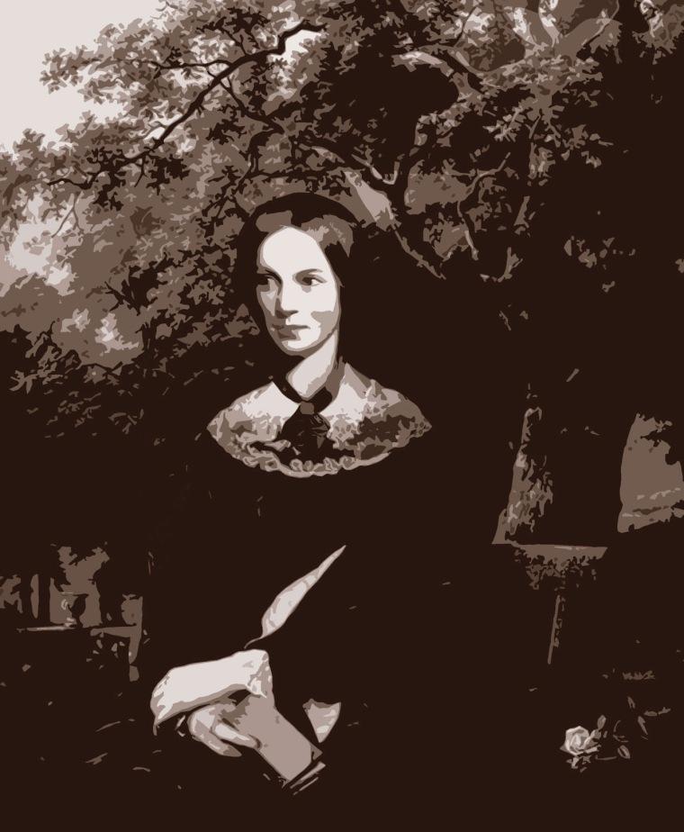 Charlotte Brontë (collage combinant le portrait de J. H. Thompson et un tableau de Barend Cornelis Koekkoek) © Louise Sanfaçon