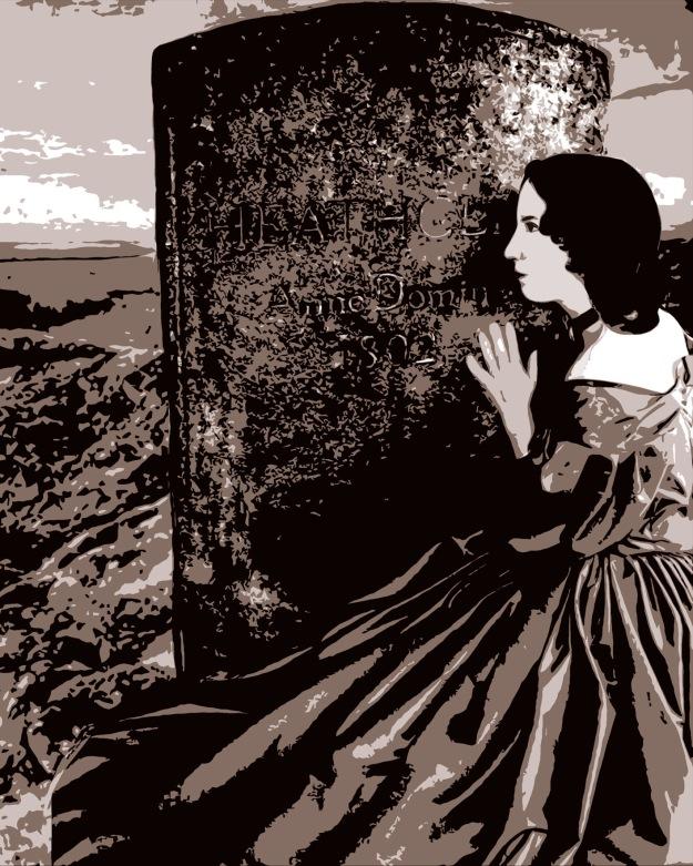 Emily Brontë (collage combinant l'un des deux seuls portraits de l'auteure par son frère Branwell datant de 1833, une photographie d'Abigail Atelier avec la pierre tombale d'Heathcliff et un tableau de John William Inchbold de 1854 représentant la lande) © Louise Sanfaçon