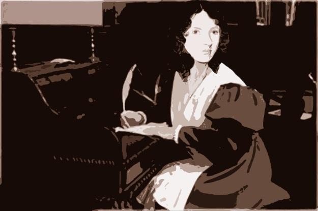 Emily Brontë (collage combinant le tableau de Branwell Brontë de 1834, et une photographie de Bakken) © Louise Sanfaçon