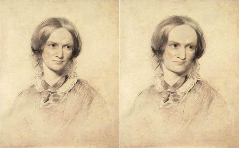 Charlotte Brontë par George Richmond, c.1850 / Charlotte Brontë par Louise Sanfaçon 2015 – d'après le portrait de Richmond, respectant les descriptions de Charlotte par ses contemporains : «front exceptionnellement proéminant, grands yeux expressifs, bouche large, tordue et affaissée en raison de nombreuses dents manquantes, grand nez, menton carré, tête qui donne l'impression d'être trop grande par rapport au corps.»