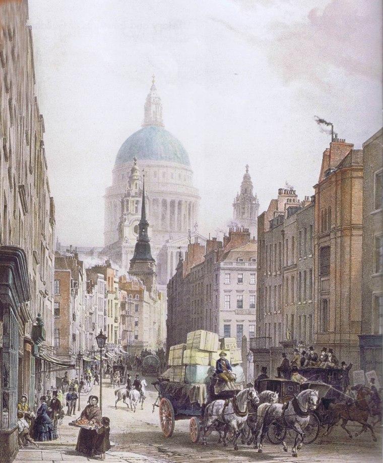 Londres, Fleet Street, avec une vue de Ludgate Hill et de la cathédrale Saint-Paul, par Jules Arnout, c 1850.