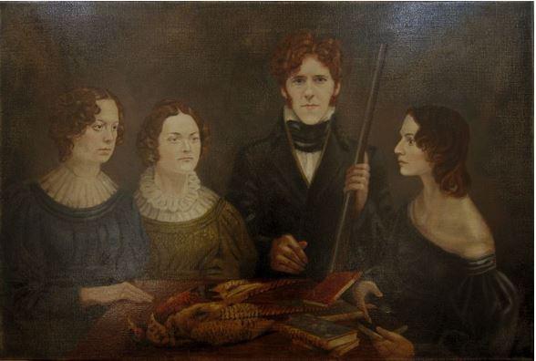 © Timna Woollard - Reconstitution du portrait de groupe dit «au fusil» par «To Walk Invisible» 2016. De gauche à droite : Emily (Chloe Pirrie), Charlotte (Finn Atkins), Branwell (Adam Nagaitis) et Anne (Charlie Murphy).